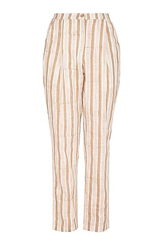 Beige Block Printed Striped Pants by Shikha Malik