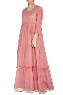 Pastel Pink Maxi Dress With Block Printed Slip by Shikha Malik