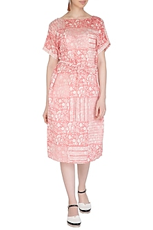 Pastel Pink Block Printed Dress With Belt by Shikha Malik