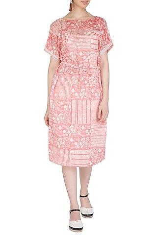 Pastel Pink Block Printed Dress With Belt by Shikha Malik