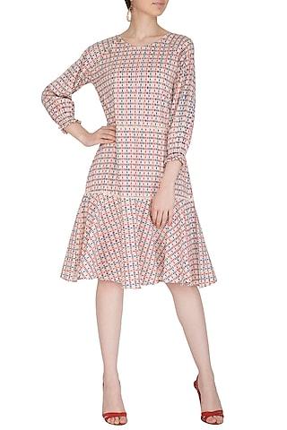 Pink & Blue Block Printed Cotton Dress by Shikha Malik