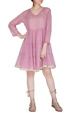 Purple Flared Dress With Block Printed Slip by Shikha Malik