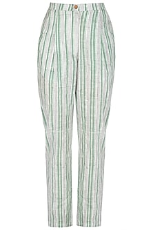 Pastel Green Block Printed Pants by Shikha Malik