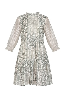 Grey Block Printed Tiered Dress by Shikha Malik