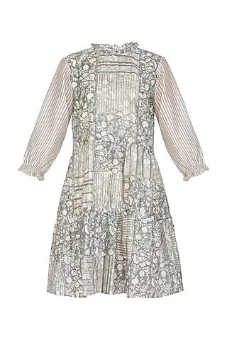 Grey Block Printed Tiered Dress by Shikha Malik