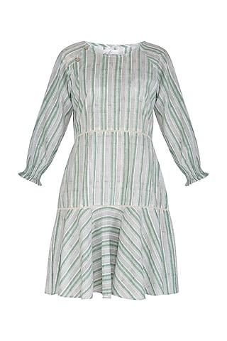 Pastel Green Block Printed Cotton Dress by Shikha Malik