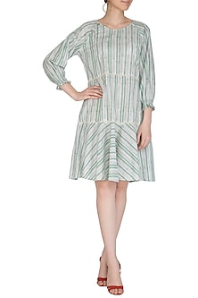Pastel Green Block Printed Cotton Dress by Shikha Malik
