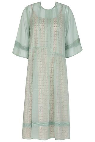 Pastel Green Kurta Dress WIth Block Printed Slip by Shikha Malik