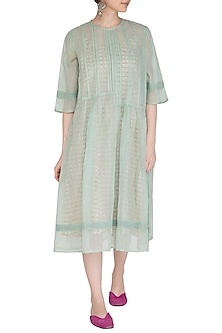 Pastel Green Kurta Dress WIth Block Printed Slip by Shikha Malik