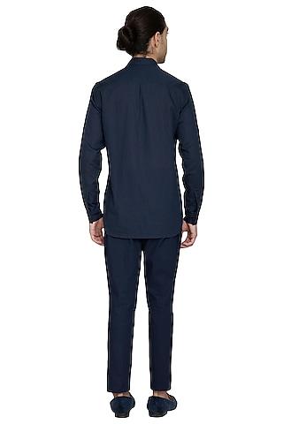Navy Blue Double Breasted Shirt by Shikha Malik Men