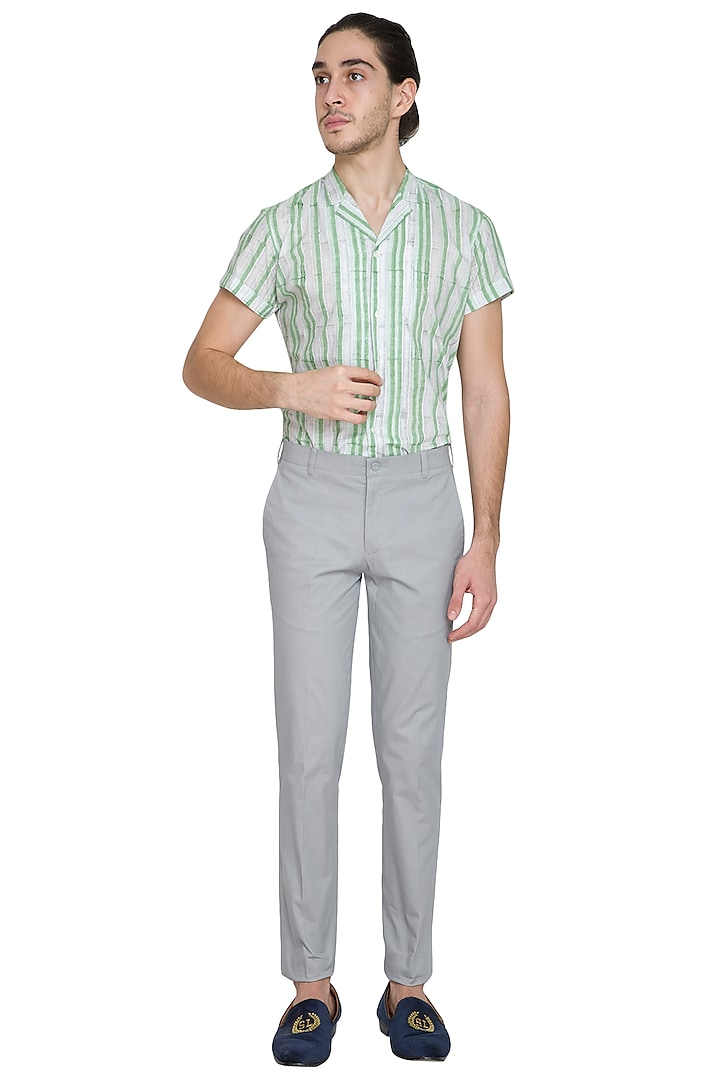 Grey Slim Fit Cotton Trouser Pants by Shikha Malik Men