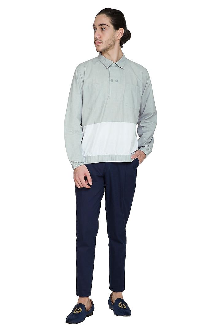 Grey Cotton Poplin Shirt by Shikha Malik Men