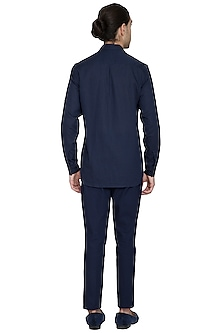 Navy Blue Pleated Trouser Pants by Shikha Malik Men