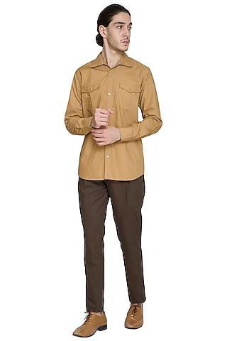 Brown Pleated Trouser Pants by Shikha Malik Men