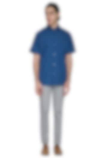 Cobalt Blue Block Printed Shirt by Shikha Malik Men