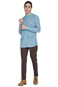 Sky Blue Chinese Collared Shirt by Shikha Malik Men