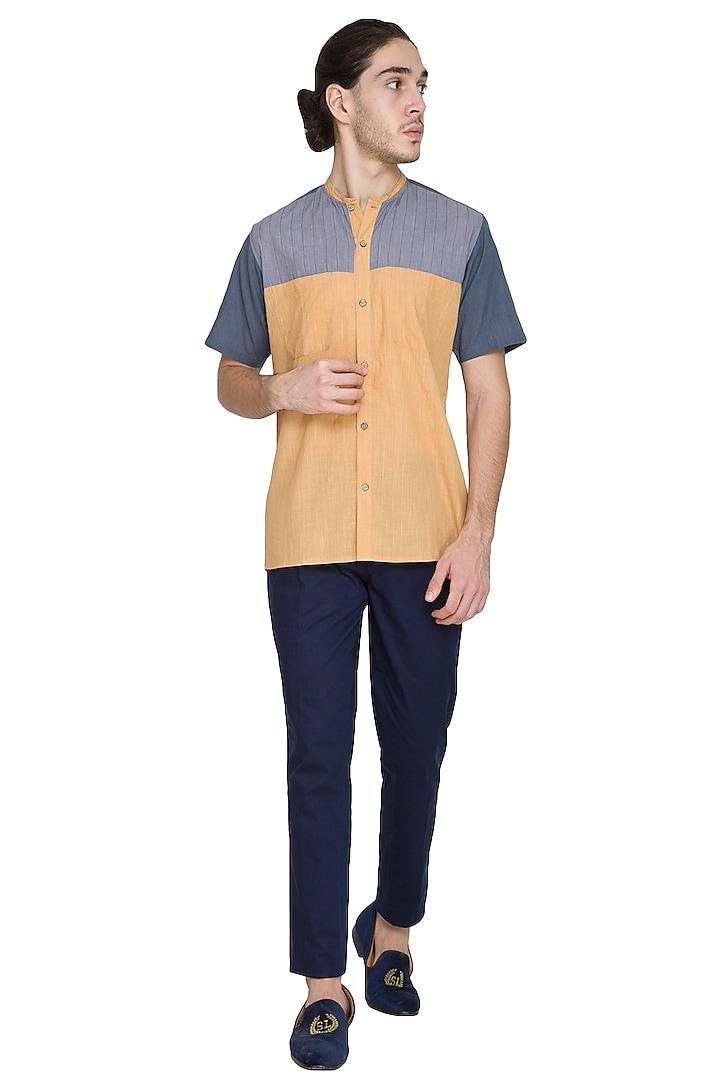 Multi Colored Cotton Shirt by Shikha Malik Men