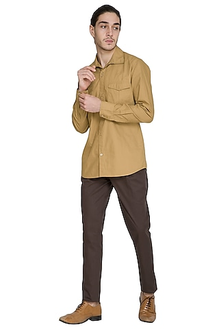 Beige Double Pocket Shirt by Shikha Malik Men