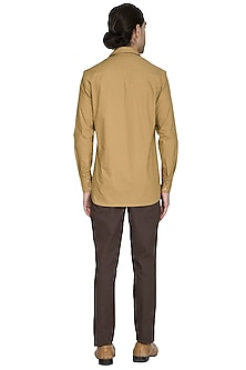 Beige Double Pocket Shirt by Shikha Malik Men