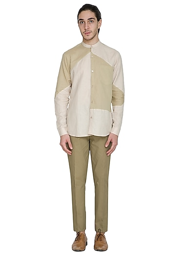 Nude Slim Fit Cotton Linen Shirt by Shikha Malik Men