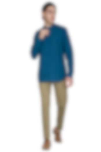 Cobalt Blue Kurta Style Shirt by Shikha Malik Men