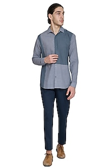 Grey Slim Fit Color Blocked Shirt by Shikha Malik Men