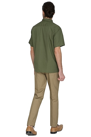 Dark Green Kurta Style Shirt by Shikha Malik Men