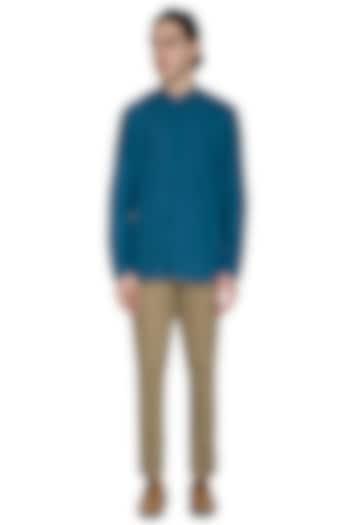 Beige Slim Fit Trouser Pants by Shikha Malik Men