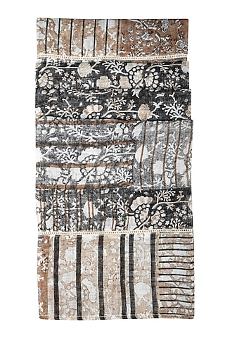 Nude Floral Printed Linen Scarf by Shikha Malik