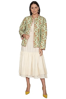 Mint Green Floral Printed Short Coat by Shikha Malik