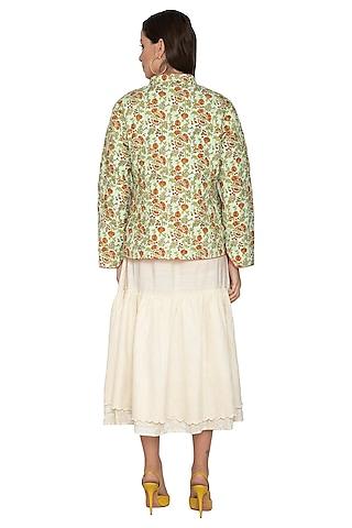Mint Green Floral Printed Short Coat by Shikha Malik
