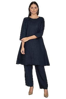 Navy Blue Cotton Linen Kurta by Shikha Malik