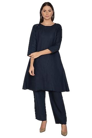 Navy Blue Cotton Linen Kurta by Shikha Malik