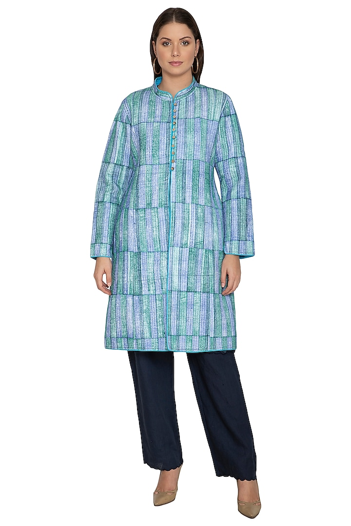 Sky Blue Printed Quilted Coat by Shikha Malik