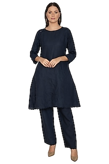 Navy Blue Cotton Linen Pants by Shikha Malik