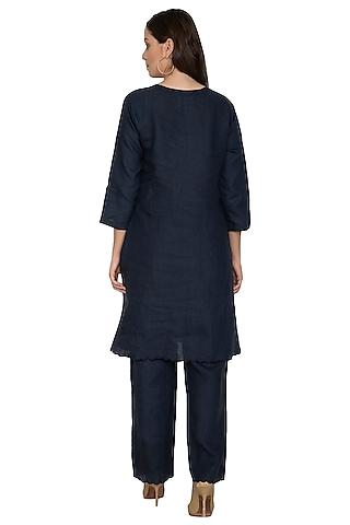 Navy Blue Cotton Linen Pants by Shikha Malik