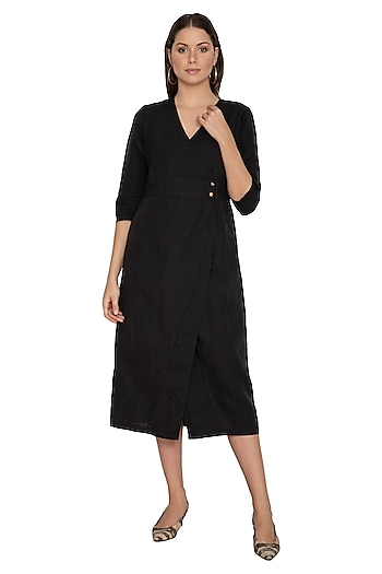Black Cotton Linen Wrap Dress by Shikha Malik