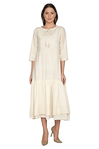 Nude Modal Silk Midi Dress by Shikha Malik