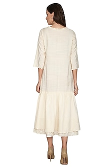 Nude Modal Silk Midi Dress by Shikha Malik