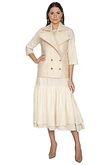 Nude Short Quilted Coat by Shikha Malik