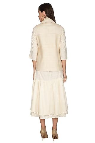 Nude Short Quilted Coat by Shikha Malik