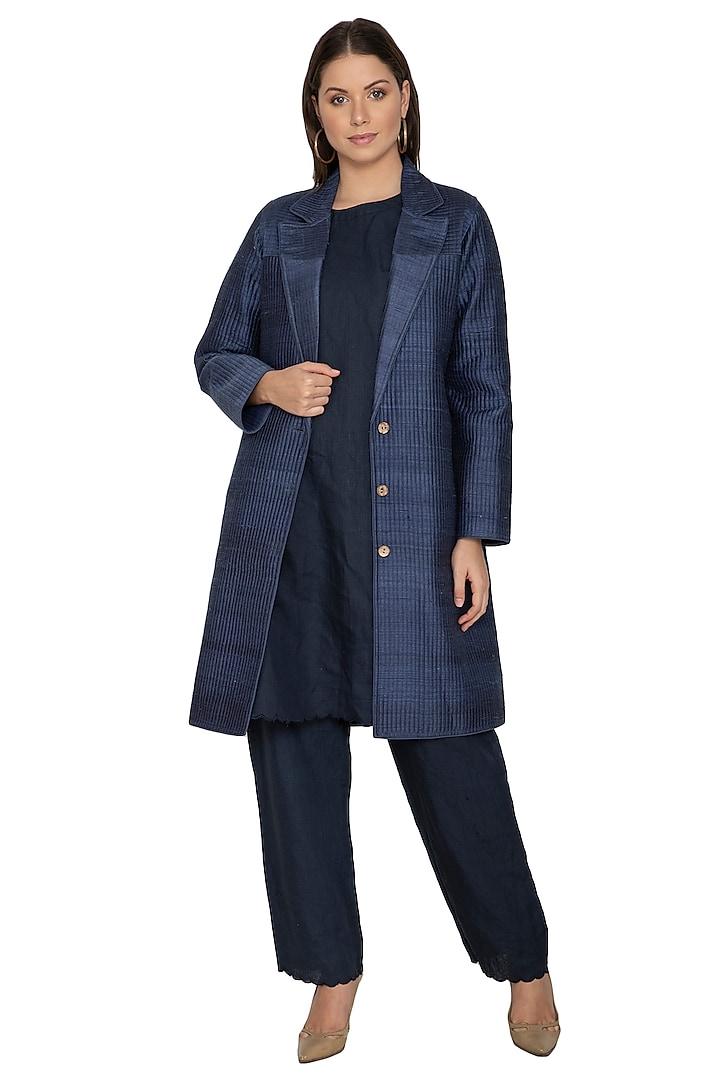 Navy Blue Long Quilted Coat by Shikha Malik