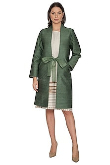 Emerald Green Long Quilted Coat by Shikha Malik