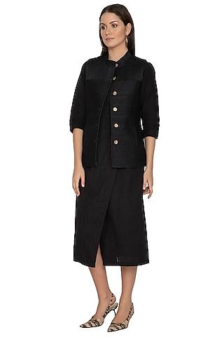 Black Short Quilted Jacket by Shikha Malik