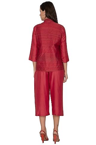 Maroon Short Quilted Jacket by Shikha Malik