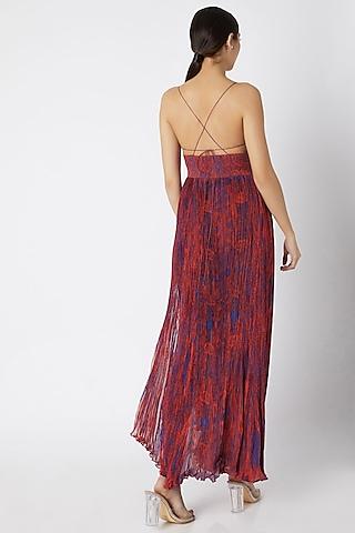 Red Printed & Micro Pleated Dress by Saaksha & Kinni
