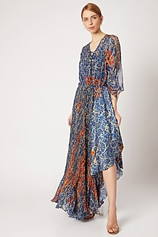 Cobalt Blue Printed Asymmetric Dress With Inner by Saaksha & Kinni