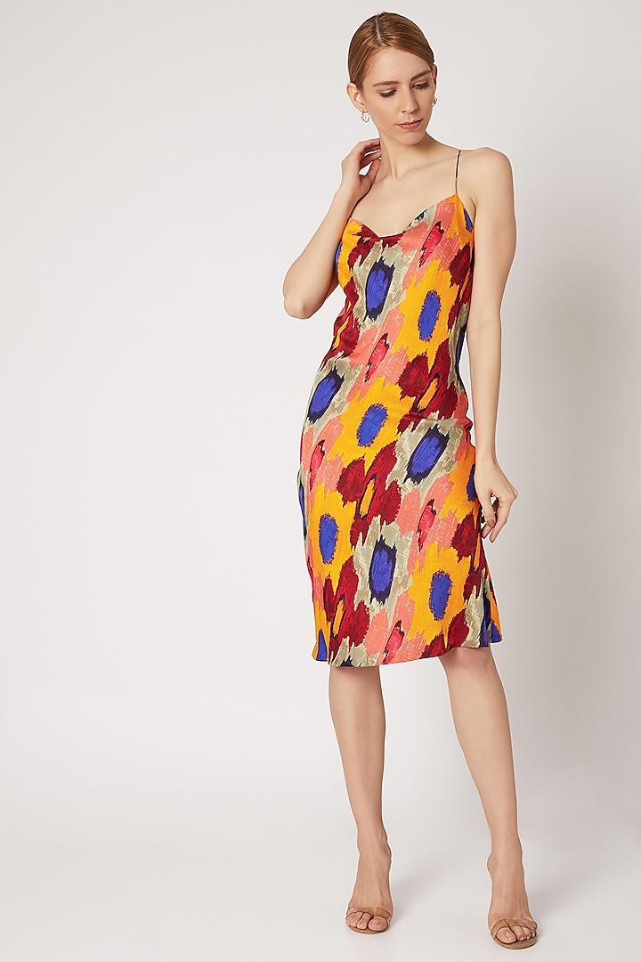 Yellow Ikat Floral Printed Dress by Saaksha & Kinni