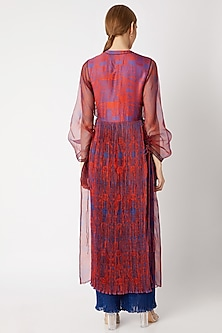 Red & Blue Printed Kurta With Inner by Saaksha & Kinni