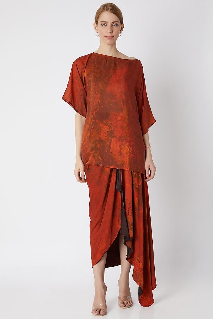 Orange Printed Drape Skirt by Saaksha & Kinni